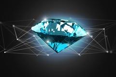Diamante que shinning na frente das conexões - 3d rendem Imagens de Stock Royalty Free