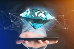 Diamante que shinning na frente das conexões - 3d rendem Imagem de Stock Royalty Free