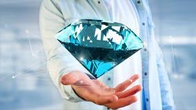 Diamante que shinning na frente das conexões - 3d rendem Fotos de Stock