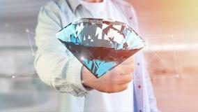 Diamante que shinning na frente das conexões - 3d rendem Foto de Stock