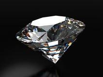 Diamante realístico colocado no fundo preto com reflexão macia, ilustração 3d Imagens de Stock
