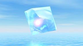 Diamante sobre el océano reservado ilustración del vector