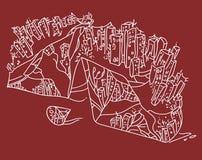 Diamante urbano sul campo rosso illustrazione di stock