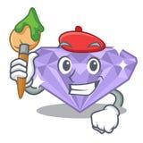 Diamante violeta del artista en la caja de la mascota ilustración del vector