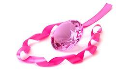 Diamante y cinta cristalinos rosados Imagen de archivo libre de regalías