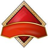 Diamanten. de pictogrammen van het kaartkostuum met lint Stock Afbeelding