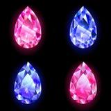 Diamanten in de vorm van dalingen Royalty-vrije Stock Foto's