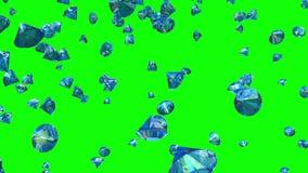 Diamanten, die auf Greenscreen (Schleife, fallen) stock video footage