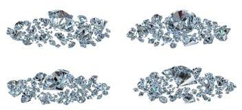 Diamanten geplaatst verschillende mening Stock Fotografie