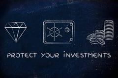 Diamanten, mynt och kassaskåpet med text skyddar dina investeringar Arkivfoto
