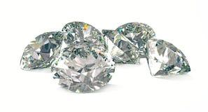 Diamanten op wit 3D teruggevend model Stock Afbeelding