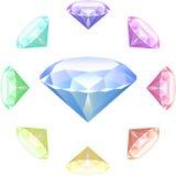 Diamanten op Witte achtergrond Stock Afbeelding