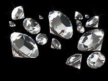 Diamanten op zwarte Stock Foto