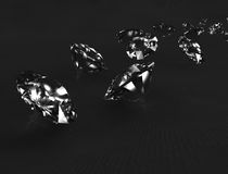 Diamanten op zwarte stof. Royalty-vrije Stock Afbeelding