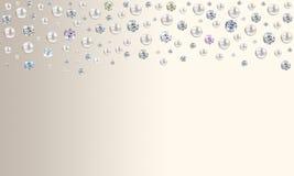 Diamanten und Perlen, die von der Spitze auf blassem Türkisblau sati regnen vektor abbildung