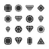 Diamantenpictogrammen of vormen op wit worden geïsoleerd dat royalty-vrije illustratie