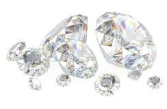 diamanter 3d på vit Arkivfoto