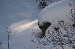 Diamanter och skuggor: Snö mousserar i kaskaderna på jultiden royaltyfri foto
