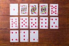 Diamantes ajustados de cartões de jogo Foto de Stock