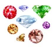 Diamantes ajustados no branco Imagem de Stock