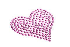 Diamantes artificiales en forma de un corazón Fotos de archivo