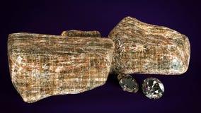 Diamantes brilhantes e ilustração rochosa dos pedregulhos 3d Foto de Stock