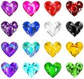Diamantes coloridos del corazón Fotografía de archivo