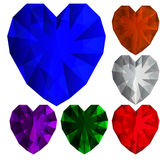 Diamantes do coração Fotografia de Stock