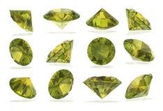 Diamantes do Peridot ajustados no fundo branco Imagem de Stock Royalty Free