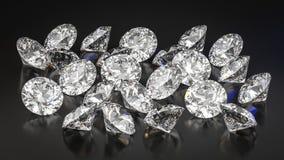 Diamantes en fondo negro imagen de archivo libre de regalías