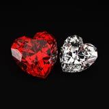 Diamantes en forma de corazón Imagen de archivo libre de regalías