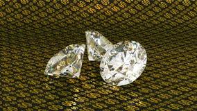 Diamantes grandes sobre fondo de oro del dólar Foto de archivo libre de regalías