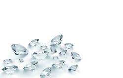 Diamantes isolados no branco Foto de Stock