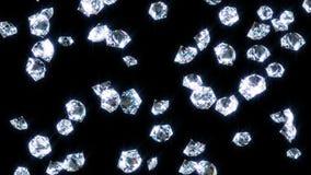 Diamantes lentamente de queda do brilho, no preto ilustração stock