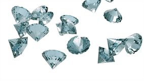 Diamantes lentamente que caen aislados en el fondo blanco libre illustration