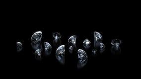 Diamantes luxuosos no fundo preto Imagens de Stock Royalty Free