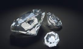 Diamantes luxuosos no fundo preto 3D rendeu a ilustração Fotos de Stock