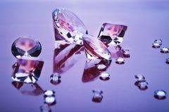 Diamantes na luz roxa Foto de Stock Royalty Free