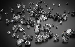 Diamantes no fundo cinzento escuro Foto de Stock Royalty Free