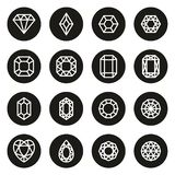 Diamantes o círculo del negro de Diamond Shapes Icons White On stock de ilustración