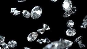 Diamantes que caen en el fondo negro Loopable inconsútil con el mate de Luma ilustración del vector