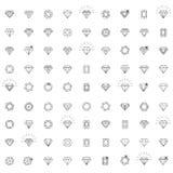 Diamantes, um grande grupo de versões diferentes da pedra do diamante Imagens de Stock