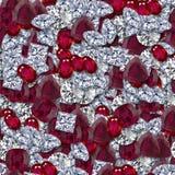 Diamantes y rubíes Imágenes de archivo libres de regalías