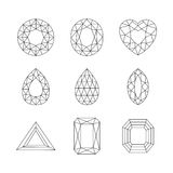 Diamantes y Ruby Vector Line Icons Fotografía de archivo