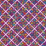 Diamantformblomma åtta kantar den färgrika sömlösa modellen Arkivfoto
