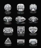 Diamantformen auf Schwarzem. Lizenzfreie Stockbilder
