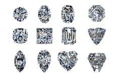 Diamantformen getrennt auf Weiß 3d übertragen Stockfotografie
