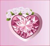 Diamanthjärta med rosor vektor Arkivbild
