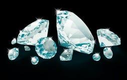 Diamanti blu isolati sul nero illustrazione di stock