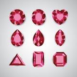 Diamanti e Ruby Vector Icons rossi Fotografie Stock